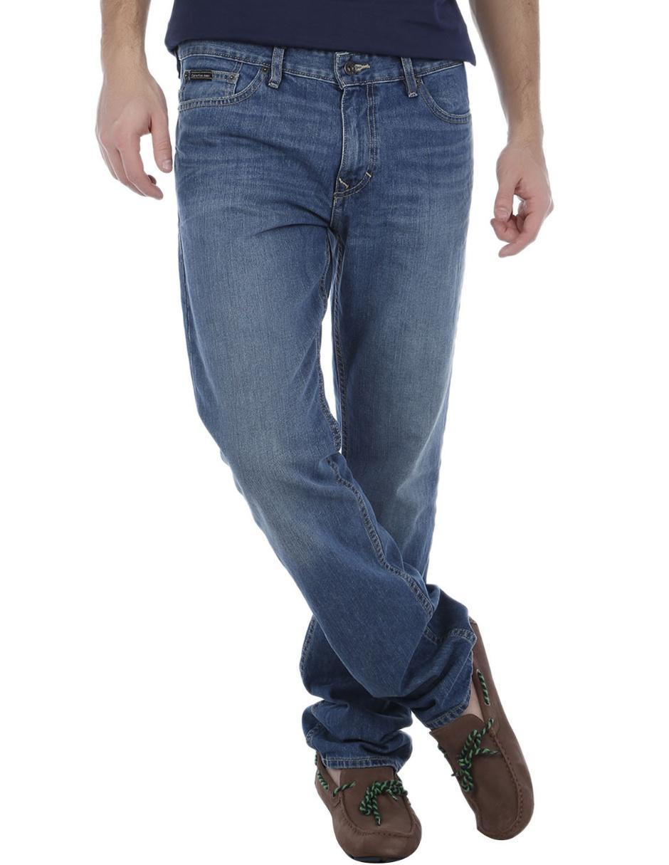 Jeans Calvin Klein Corte Slim Azul Medio En Liverpool