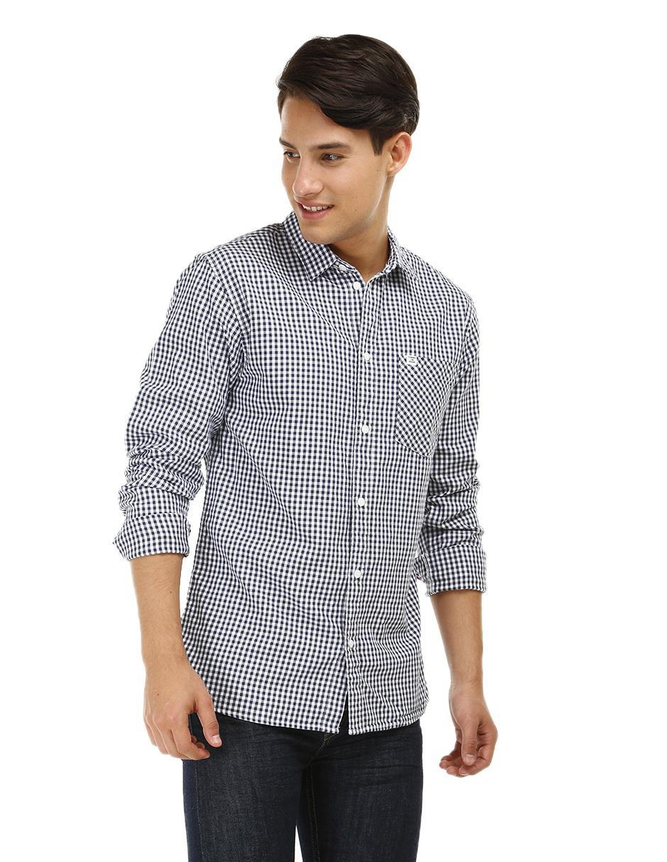 a49729437e7 Camisa casual a cuadros Tommy Hilfiger corte regular fit manga larga azul