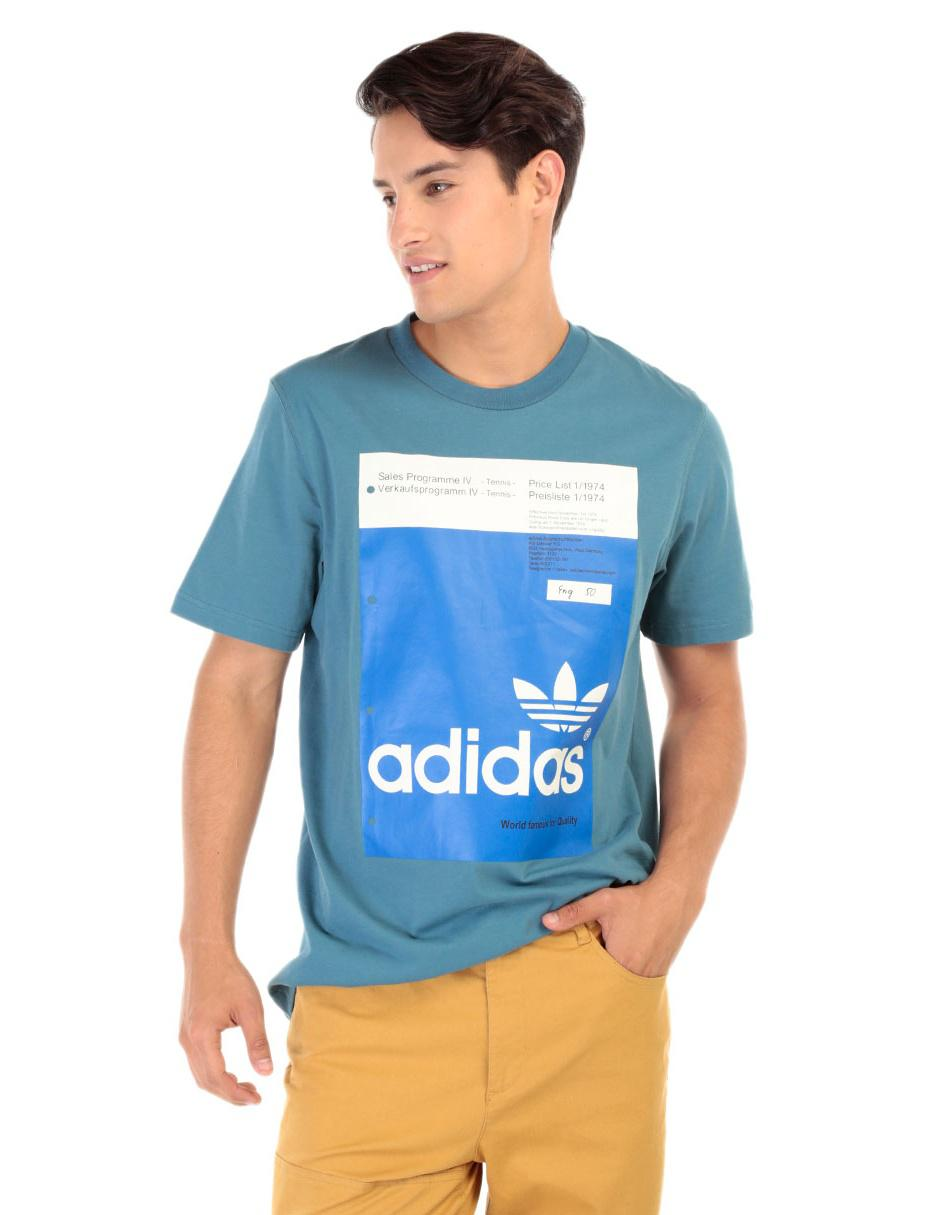 ab1db03dc370b Playera Adidas Originals corte regular fit cuello redondo azul logotipo