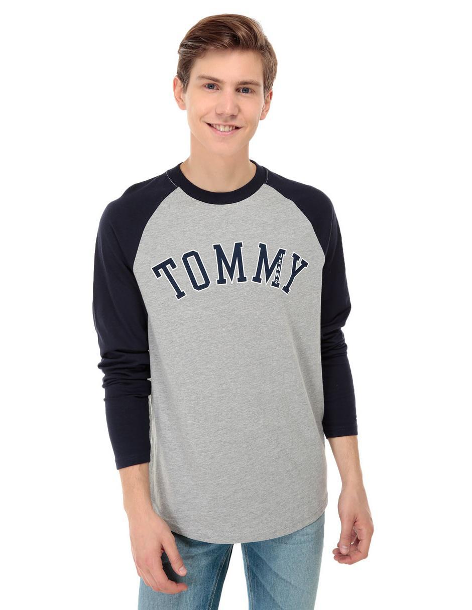 Playera Tommy Hilfiger cuello redondo manga larga algodón gris 89932f8d7bbcd