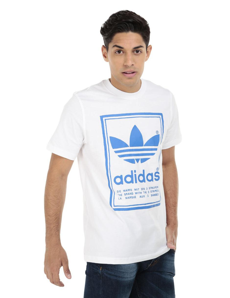 5488b9753a70e Playera Adidas Originals corte regular fit cuello redondo blanca