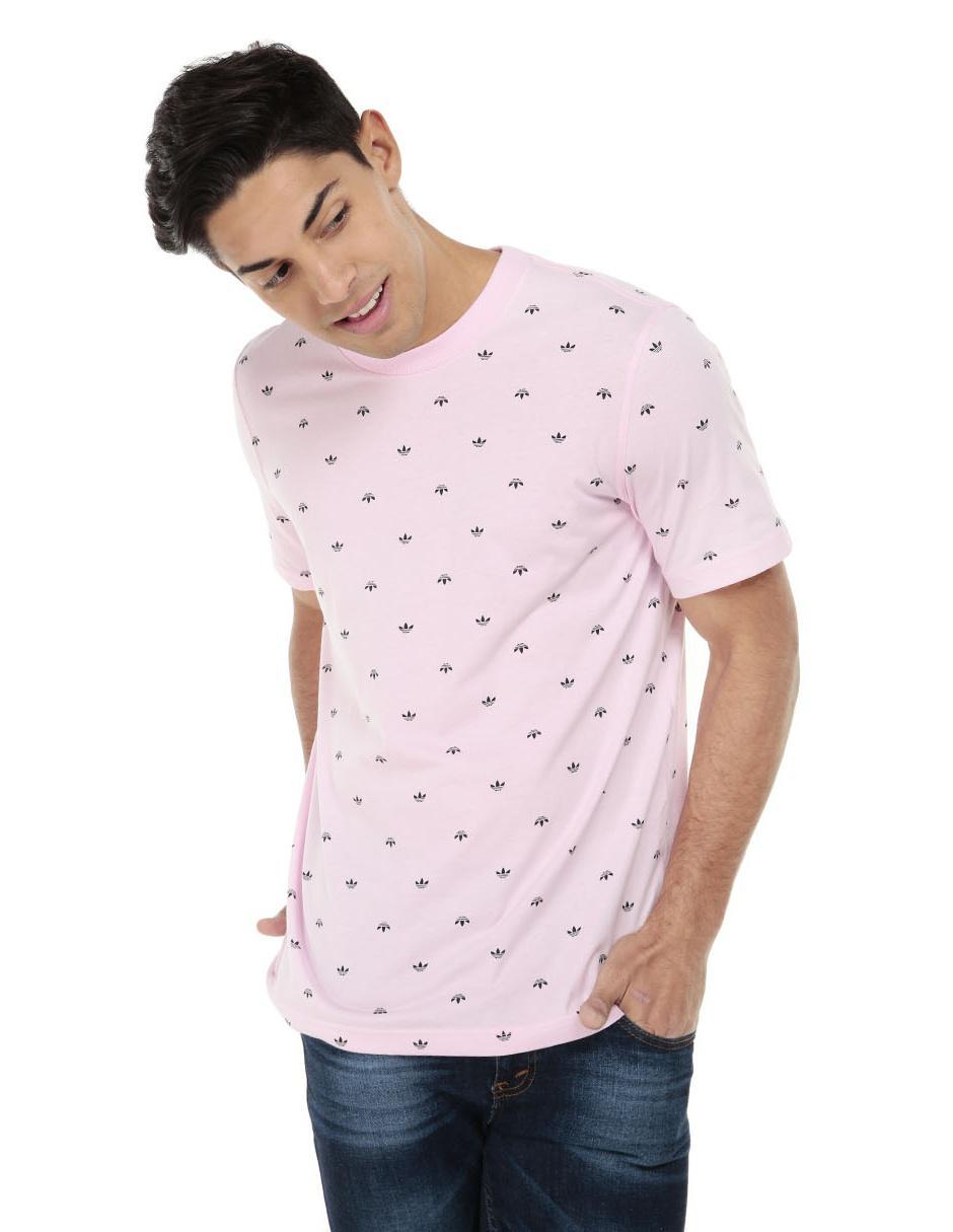 313dc1c255e80 Playera casual Adidas Originals corte regular fit cuello redondo rosa con  diseño gráfico