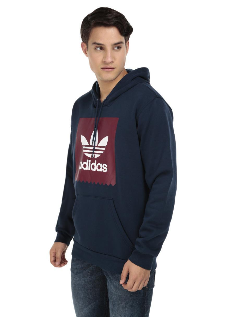 Sudadera Adidas Originals cuello redondo azul con capucha 1eb510c9a79