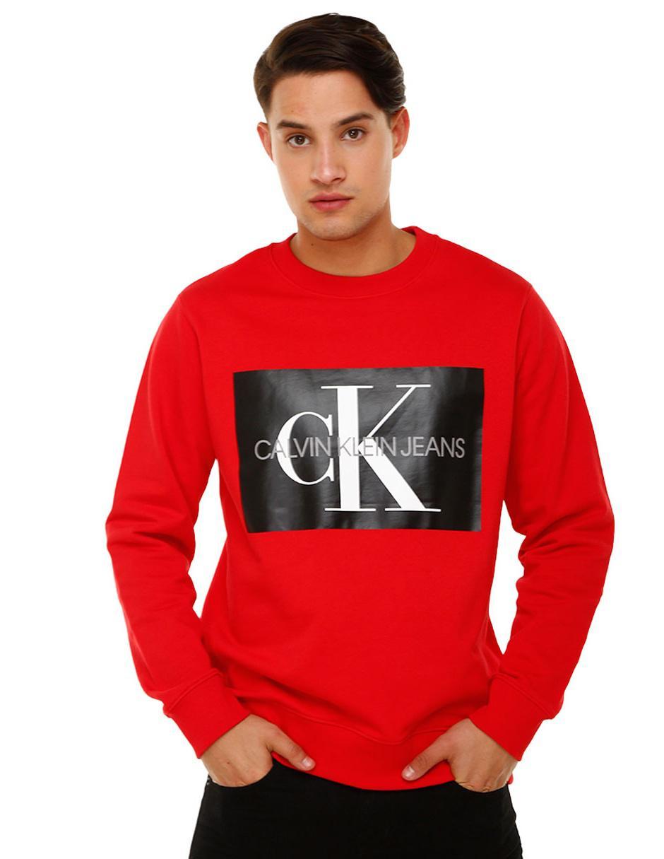 Calvin Klein Redondo Cuello Sudadera Logotipo Roja F6xwgn8q